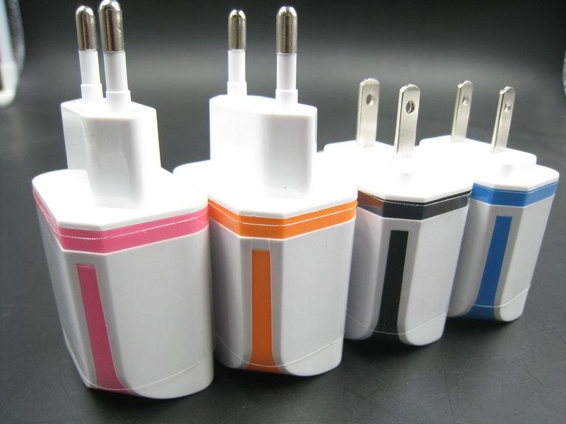 Nový adaptér USB Travel Charger Travel EU USA Plug Butterfly 2 USB - Příslušenství a náhradní díly pro mobilní telefony
