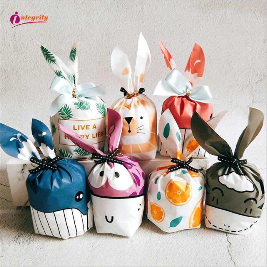 INTEGRITY 10pcs Cute Rabbit Ear Cookie Gift Bag For Easter decoration Candy Biscuits Snack Baking Packaging Wedding Favors Gifts
