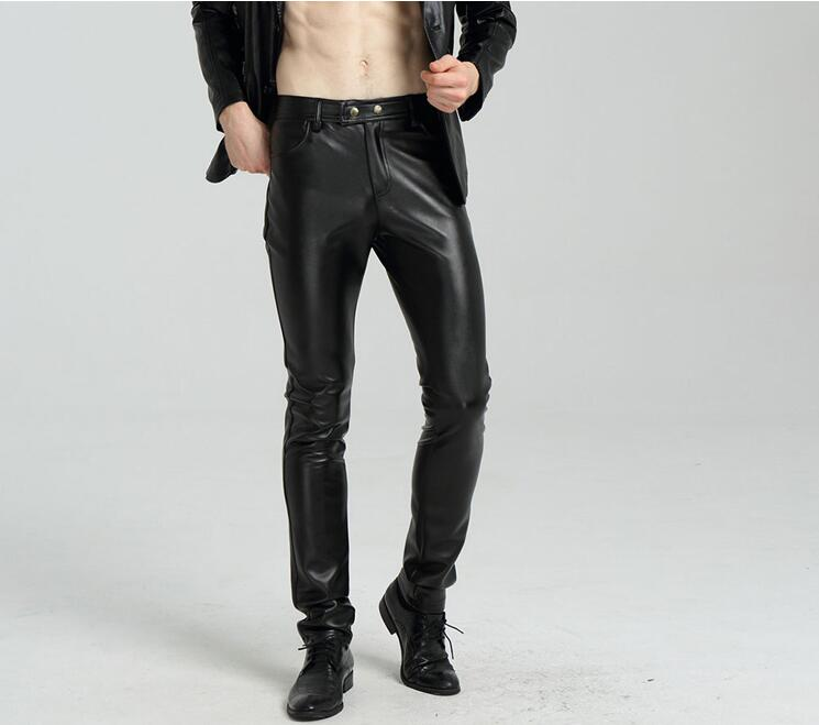 Plus velvet fashion casual motorcycle faux leather pants mens feet pants winter warm pu trousers for men pantalon homme black