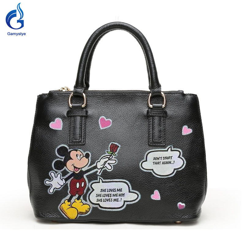 Gamystye Genuine leather Handbags New Design Love Cute mouse Graffiti hand Painting On Women Bags Women handbag Customize 2016 new cute smile cartoon eyes graffiti pu leather yellow handbags women s luxury bags hand painted punk painting women totes