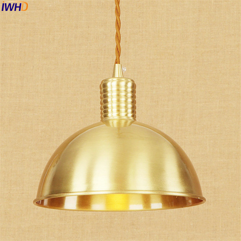 Nordic Copper LED Pendant Light Fixture Bedroom Dinning Room Lampen Vintage Lamp Hanging Lights Home Lighting Edison Luminaire modern creative quality acylic led dinning room pendant lamp home decoration lighting fixture with led free shipping 110v 220v