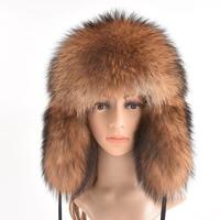 Winter Genuine Fox Fur Hats For Women Winter Luxury Real Raccoon Fur Hat New Luxury Trapper Caps Russian Style Bombers Hat