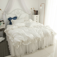2019 Cotton lace Bedding Set white Duvet Cover Set Bed Linen Tassels Luxury princess bed skirt sets twin queen king bedclothes