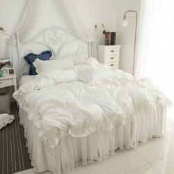2019 bawełna koronkowa pościel zestaw biały zestaw poszewek pościel frędzle luksusowe łóżko księżniczki komplety spódniczek twin queen king pościel