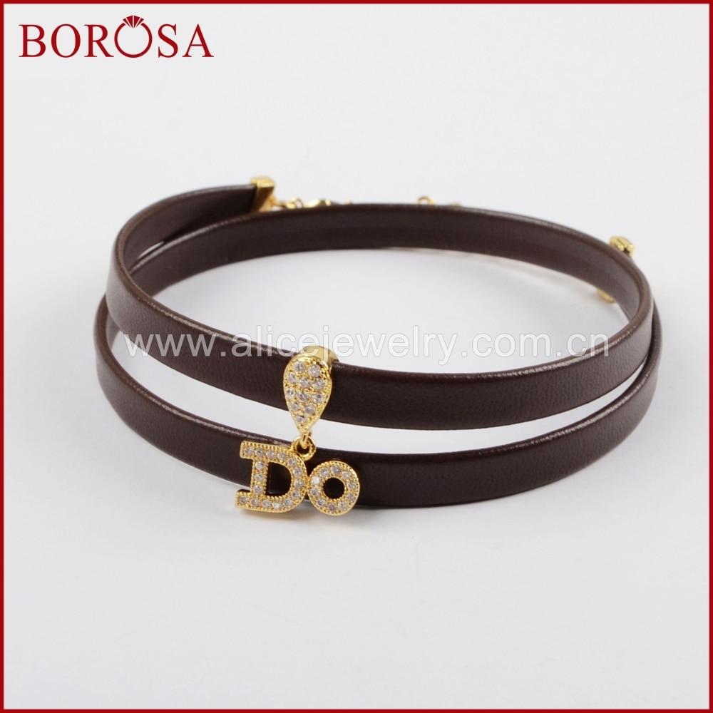 borosa cz piedra zirconia crystal pave hacer druzy colgante pulseras de cuero genuino para las mujeres