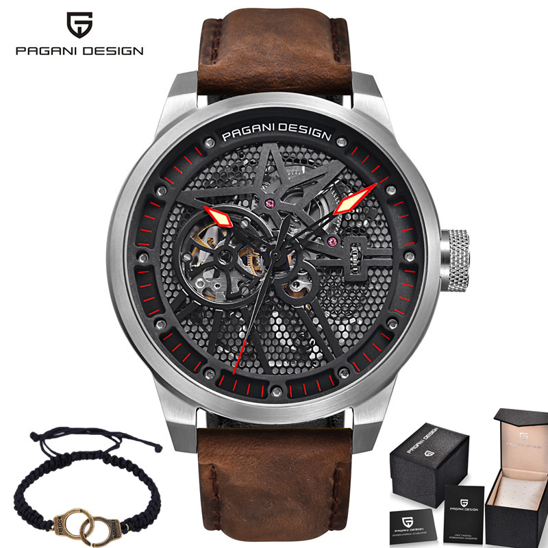 Pagani Skeleton Tourbillon Mechanical Watch Men Automatic Classic Leather Waterproof Wrist Watches Reloj Hombre Mens Gift 2017 2017 jaragar luxury watch men tourbillon automatic wrist mechanical watches free shipping gift