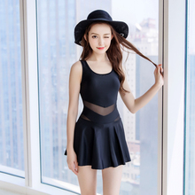 Women One-piece Suits Plus Size Solid Dressed Swimsuit Mesh Retro Padded Sleeveless Newest U-neck Young Girls Swimwear