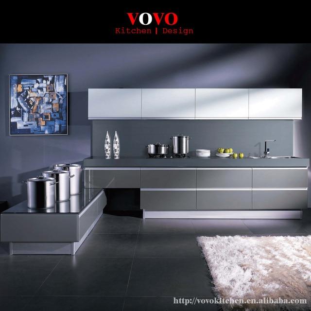Blanco y gris gabinete de cocina lacado handless en Gabinetes de ...