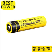 1 pcs Nitecore NL186 18650 2600mAh 3.7V 9.6Wh Rechargeable Li-on Battery high quality with protect 1 pcs fenix rc40 rechargeable battery pack