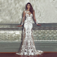 Elegant Womens Sexy See Through Mesh Lace Long Dress Wedding Bodycon Autumn Fall Evening Party Long