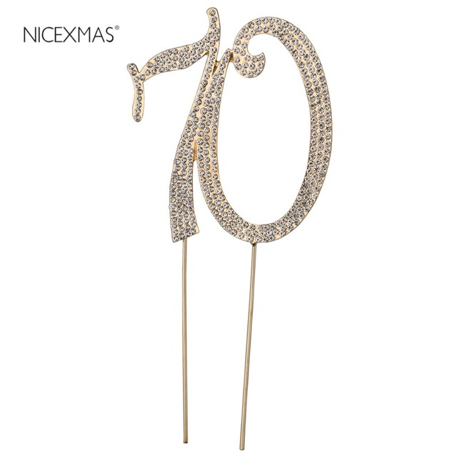 NICEXMAS 70 Birthday Cake Toppers Crystal Rhinestones Decorative Cupcake Picks For Wedding Anniversary Party Supplier