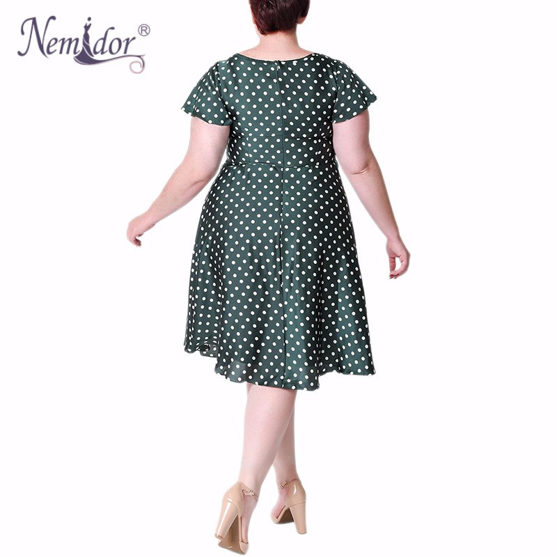 Unique_Vintage_Plus_Size_1940s_Style_Emerald_Ivory_Polka_Dot_Formosa_Swing_Dress_2