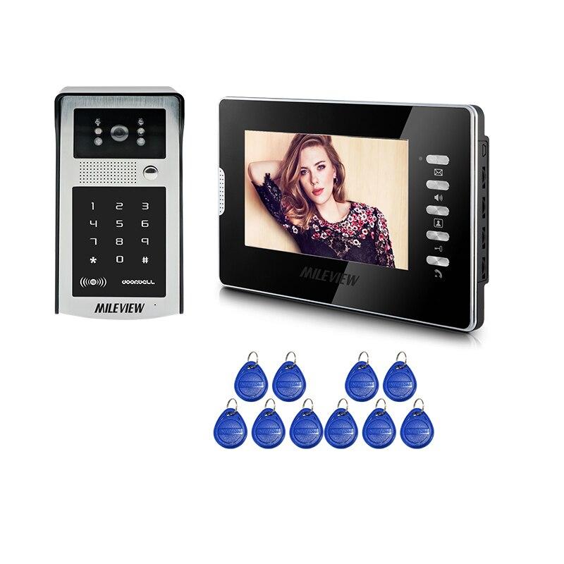 FREE SHIPPING New 7 LCD Color Screen Video Door Phone Intercom System Black Monitor + Metal Waterproof RFID Code Keypad Camera free shipping n116bge e32 n116bge ea2 n116bge e42 n116bge eb2 lcd b116xtn01 0 screen edp lcd monitor