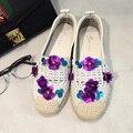 Para mujer Zapatos Planos Ocasionales Azul/Púrpura de La Flor 2017 de Moda De Verano Hecho A Mano Zapatos de Las Mujeres Zapatos de Las Mujeres Pisos