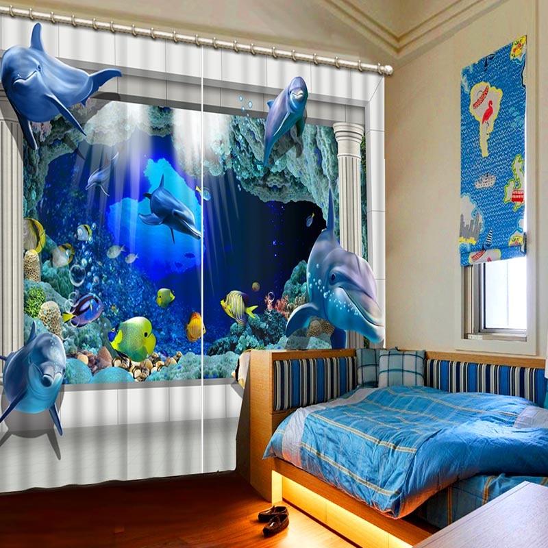 NoEnName_Null High Definition Deep Sea Fish 3D Printing Curtains Vivid Lifelike full Shade Bedroom Living Room Curtains CL-60