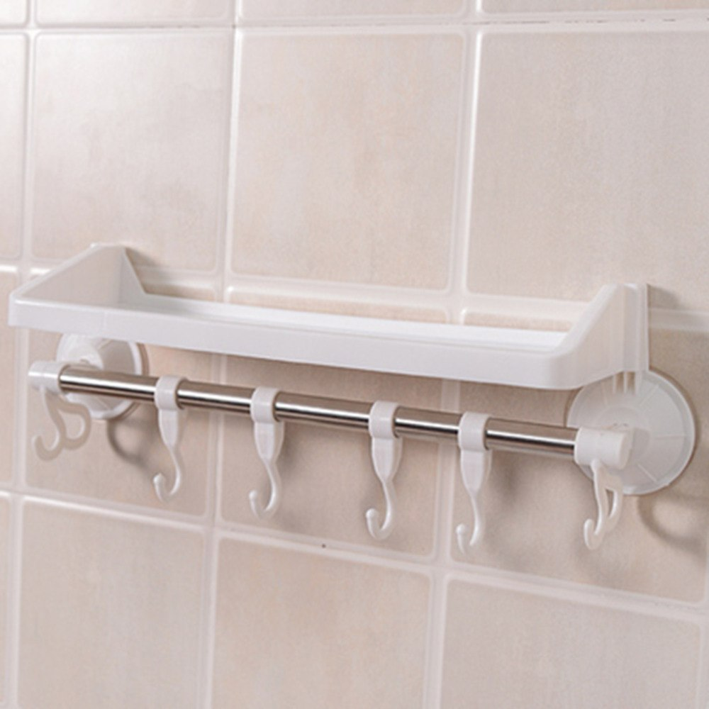 Stainless Steel Strong Suction Cup Towel Rack Hanger With Hooks Single Pole Holder Pipe Storage Basket Shelves