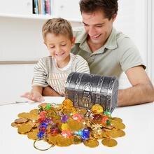 Коробка для охоты на сокровища, детская коробка для сокровища, гальванизированная Ретро пластиковая большая коробка, игрушка, золотые монеты и пиратские драгоценные камни, ювелирный набор