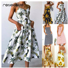 hot sale women dress spaghetti strap sleeveless v neck A line print casual ladies dresses summer button mid-calf female vestidos цена