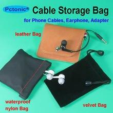 Bolsa de almacenamiento pequeña para auriculares huawei y iphone, cable USB de cuero, funda con cierre de resorte, resistente al agua, 7x11, 8x9