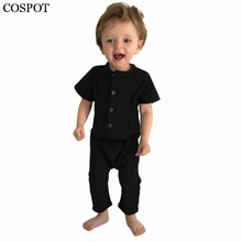 COSPOT Baby Boys Summer Romper Newborn Plain Pajamas Toddler Short Sleeve Jumpsuit Black Playsuits for Newborns 2018 New C33