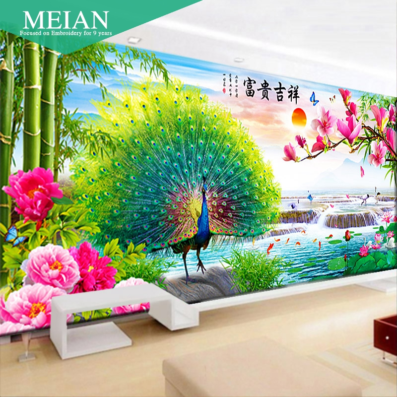 DIY 2016 New 3D 11CT Cross Stitch Auspicious Rich Peacock Precision Silk Cotton for Decoration of