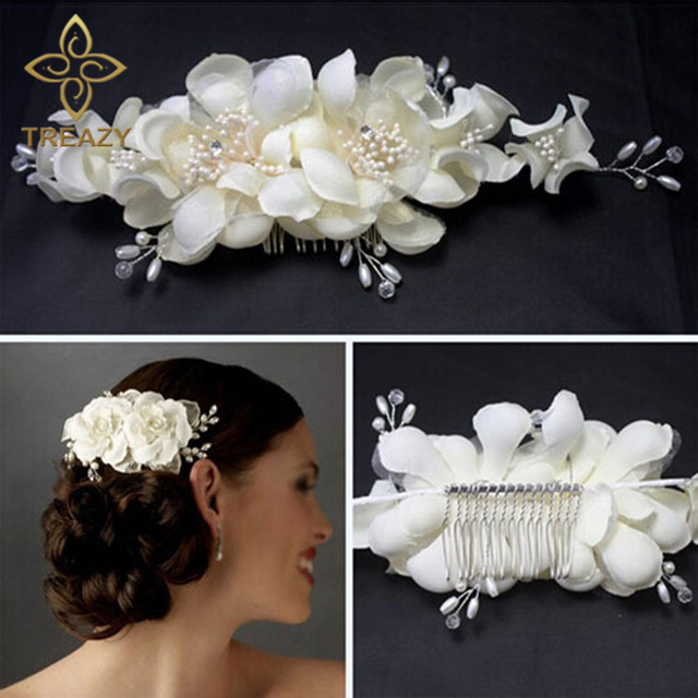 Treazy Для женщин подружки невесты белый цветок гребень для волос шпильки Свадебные Женские аксессуары для волос ручной работы головной убор Veil ювелирные изделия