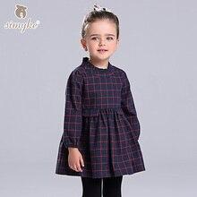 Simyke девушки осень платье в клетку с длинным рукавом 2017, Новое Детское платье для девочек Одежда для маленьких девочек детская одежда D8218(China (Mainland))
