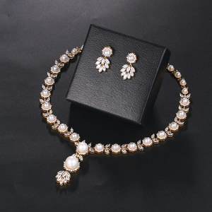 Image 4 - WEIMANJINGDIAN Simulated Shell Pearl and Cubic Zirconia CZ Crystal Necklace & Earring Jewelry Set for Wedding Bridal Jewelry