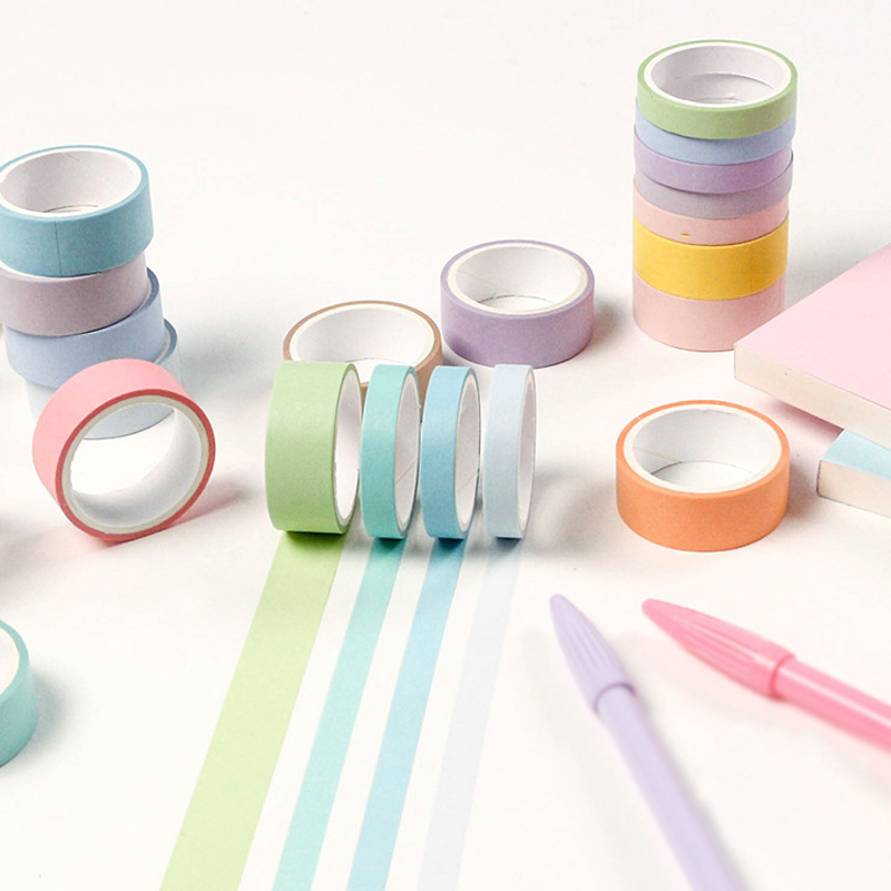 12 Colors Macarons Masking Tape Set 7.5mm Slim 15mm Wide Decoration Washi Tapes For Diary Alblum Gift Stationery School Supplies