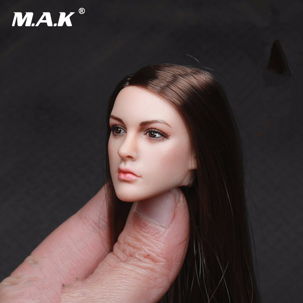 1/6 Scale KT005 Female Head Sculpt Long Hair  Model Toys For 12 Inches Women Bodies Figures 1 6 scale kate beckinsale head sculpt with brown or blue eyeballs for 12 inches female figures bodies dolls