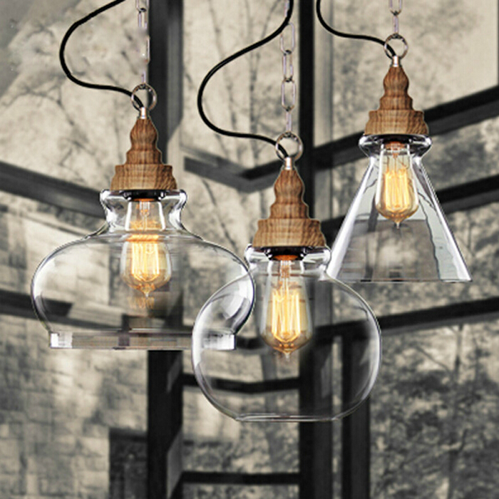 Loft Vintage retro Industrial Glass Ball wood Pendant Lights E27 AC 110V 220V lamp for Dining room Living Room Cafe Bar