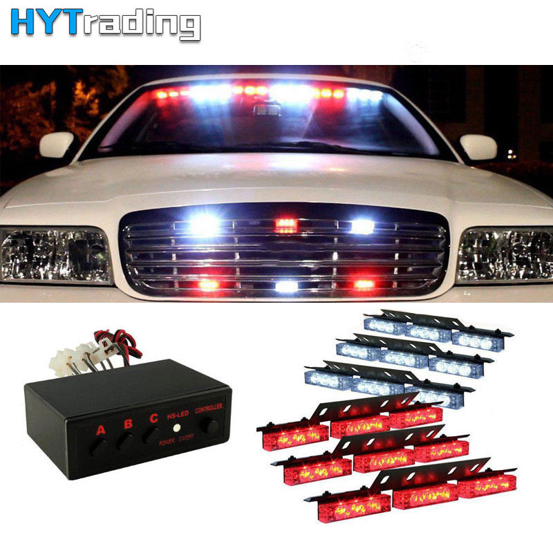 Car Truck Emergency Flasher 54 LED Vehicle Emergency Warning Strobe Grill Fire Fighters Red White Light Bar Police Lamp