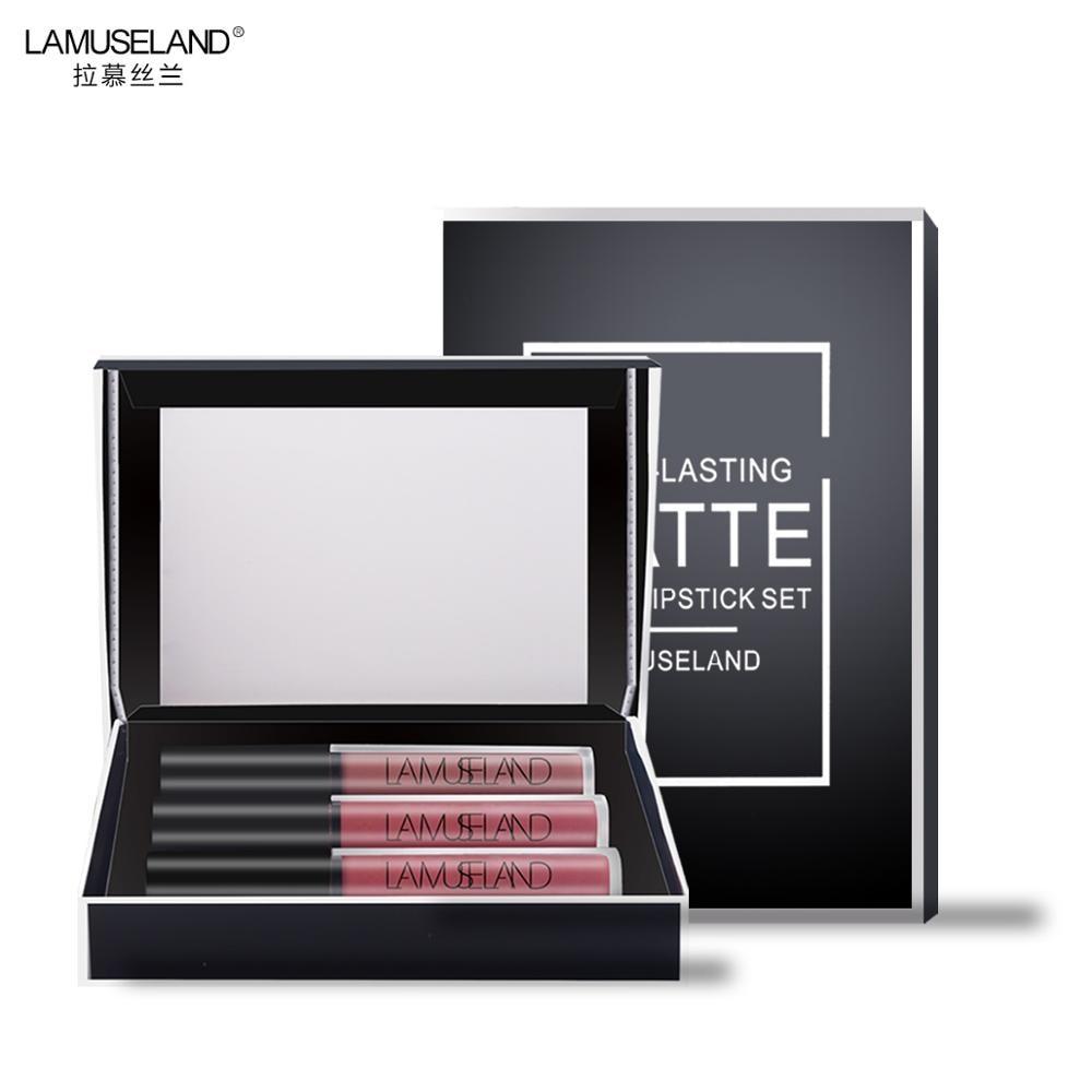 3 pçs/lote 12 Cores Waterproof Long-Lasting Batom Matte Lip Gloss 3.5g Lip Maquiagem Marca LAMUSELAND # LA03 (01-12)