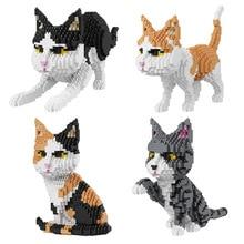Cartoon Cat Mini Diamond Building balody Block Sitting Walking Waving Stretching Posture Model Brick Toy For Kids Gift
