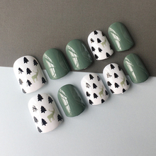Fashion green 24 pcs/set Cute pattern design short size finished false nail,full Nails tips,lady finger art tool ALI-25