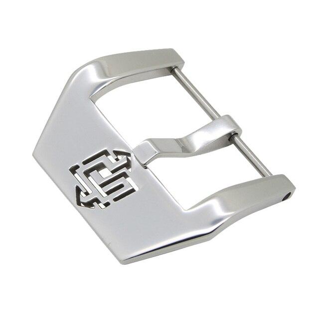 Hebilla de reloj ZLIMSN, hebillas plateadas y negras para correa de reloj, hebilla de acero inoxidable para reparación de 22mm 24mm 26mm