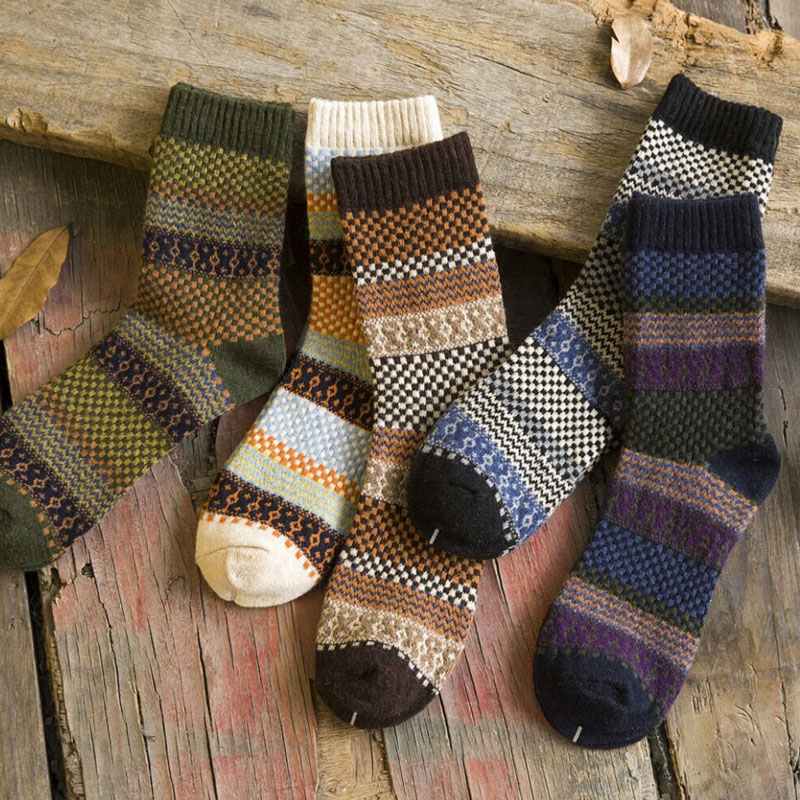Vintage Men Warm Winter Thick Wool Mixture Soft Cashmere Casual Dress Socks