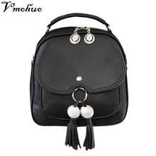 VMOHUO Mini Backpack Female Leather Small Women School Bags Tassel Backpacks For Young Girls Korean style Retro Leisure Pack Bag