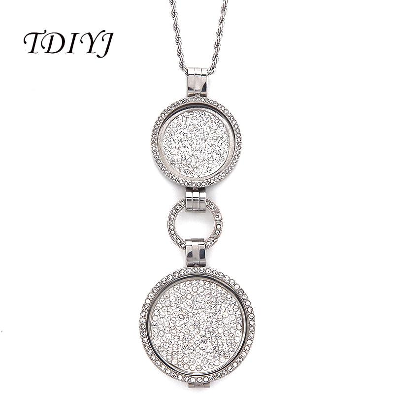 Tdiyj Мода мой монет Цепочки и ожерелья 33 мм/25 мм Белый Полный Кристалл Большой Монета диск Рамки кулон 80 см twisted цепь для рождественские подарк...