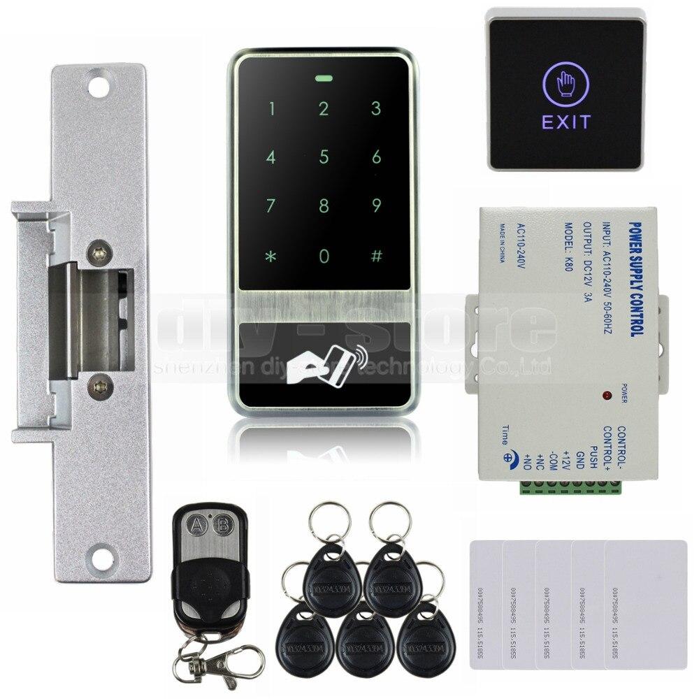 diysecur touch button 125khz rfid reader password keypad strike lock remote control door. Black Bedroom Furniture Sets. Home Design Ideas