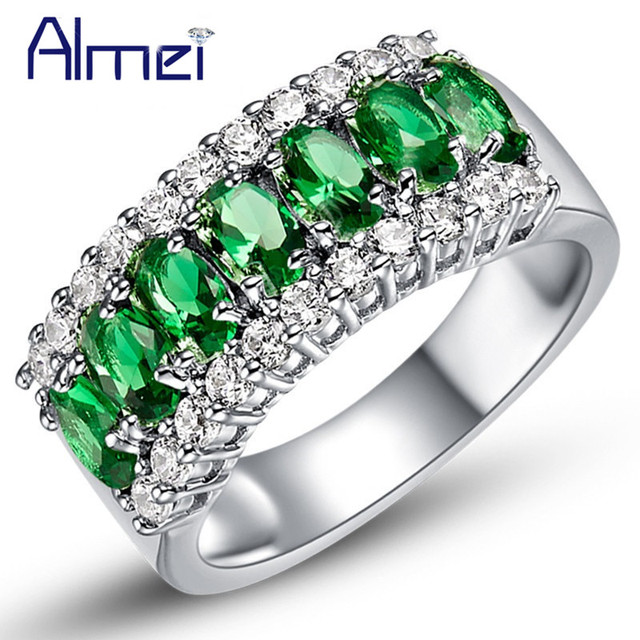 Almei Fashion Rings for Women Female Anel Com Pedra Grande Casamento, Sliver Color Green Stones Ring Crystal Jewelry 2017 J507