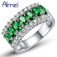 Almei Fashion Rings for Women Female Anel Com Pedra Grande Casamento,Silver Ring with Green Stones Crystal Jewelry 2017 J507
