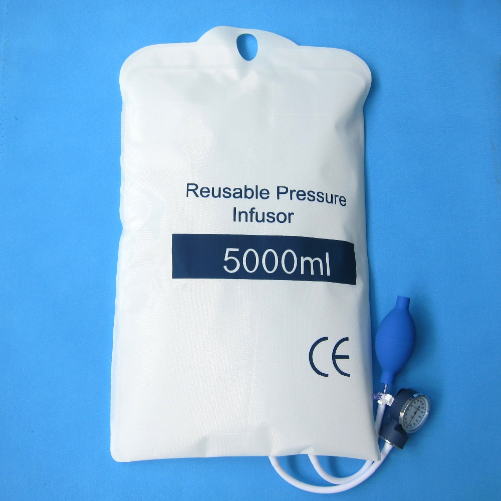 Medical pressure Infusion bag,QUALITY FLUID 5000 ml with gauge 0 - 5000 mbar and hand pump ball with spoon