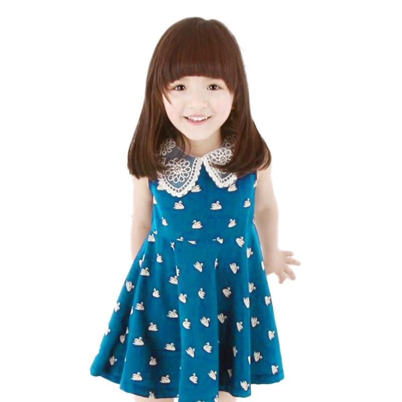 summer baby girls dress cotton blend lace kid mini dress swans printed lace o neck infanted - Colour Kid