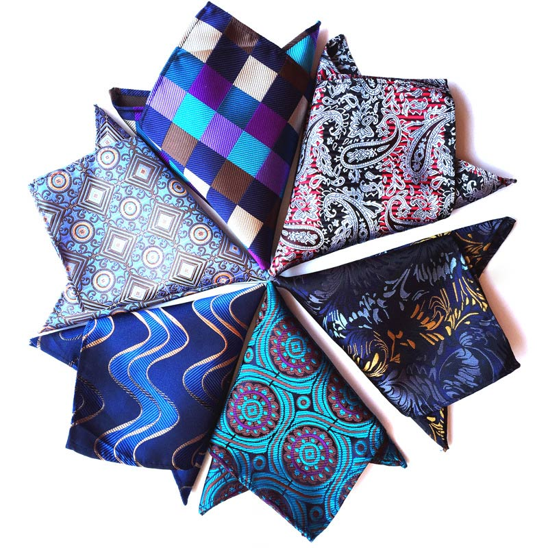 Wholesale ( 10 Pieces / Lot ) 25CM Mens 100% Silk Handkerchiefs Floral Plaid Stripes Polka DOTS Pocket Squares For Wedding Party