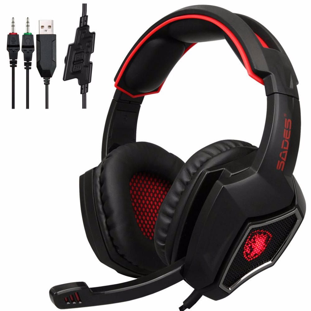 SADES USB Gaming Headset Stereo Computer Headphone With Mic 3.5mm Jack For PC Laptop Mobile Phone For Mac For Xbox one For PS4 rock y10 stereo headphone earphone microphone stereo bass wired headset for music computer game with mic
