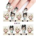 1 Nueva hoja De Transferencia de Agua Del Tatuaje Completo Consejos de Uñas de Arte Belleza Sexy Lady Mujeres Pegatina Para Nail Art BN025