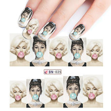 1pcs Water Transfer Nail Sticker Decals Tattoo Full Tips Slider Art Beauty Sexy Lady Women Wraps For Nail Art Decoration BEBN025(China)