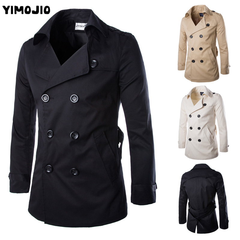 YIMOJIO Trench Coat 2019 Long Slim Casual Men Solid Adjustable Waist Male Trench