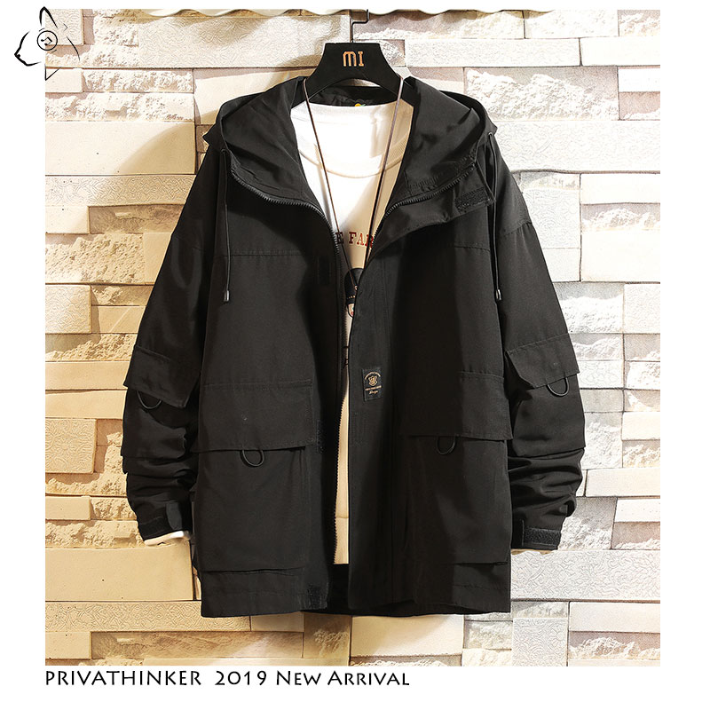 Privathinker Autumn 2019 Man Safari Style Streetwear Jacket Mens Harajuku Black Windbreaker Jackets Male Pockets Oversize Jacket(China)